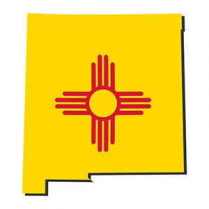 state of new mexico outline with zia symbol
